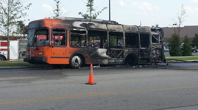 Company Says Rear Tires On Transit Bus Exploded In Fire