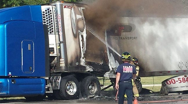 Tulsa Firefighters Put Out Burning Semi Truck