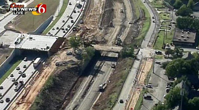 ODOT Begins Deconstructing Lewis Avenue Bridge Over I-44