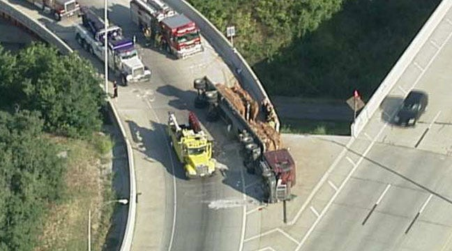 Semi Hauling Crushed Cars Tips Over On Tulsa IDL