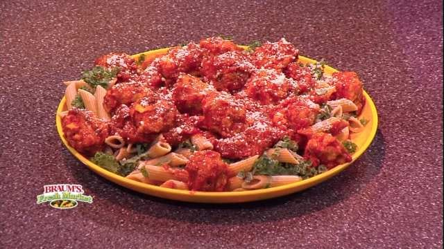 Mozzarella-Stuffed Meatballs With Penne And Kale