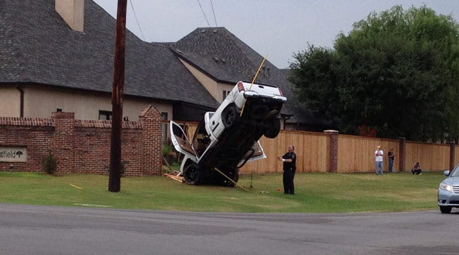Police: New Driver Hangs Pickup From Guy Wire In South Tulsa Crash