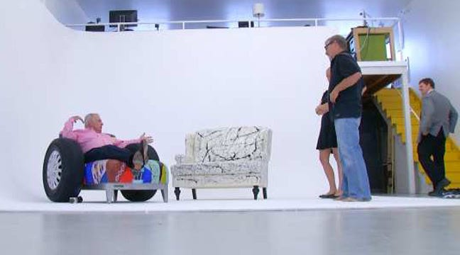 Fun And Funky: Kendall Whittier Holds Sofa Art Street Party