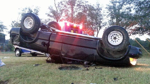 Two Injured After Pickup Rolls Over On Creek County Highway