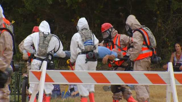 National Guard Members Run Realistic Natural Disaster Drill At Camp Gruber