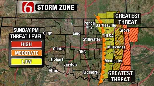Severe Storms, Hail, Tornadoes To Threaten Eastern Oklahoma