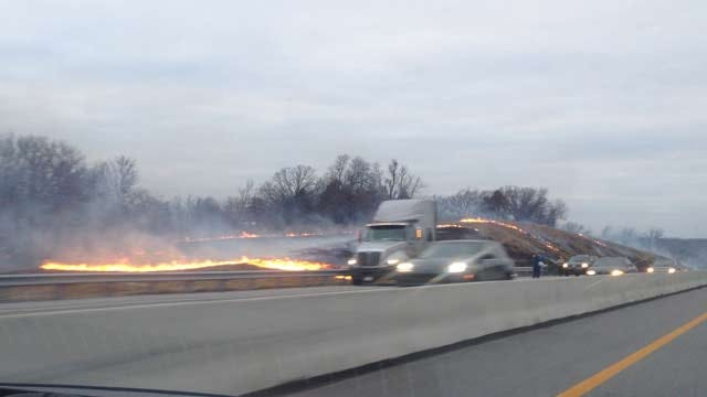 Grass Fire Slows Traffic On Turner Turnpike Near Bristow