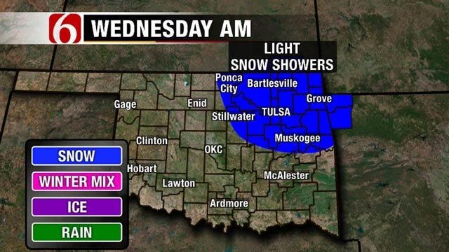 Snow Flurries Possible Across NE Oklahoma, NW Arkansas