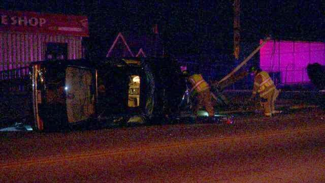 Mercedes Takes Out North Tulsa Power Pole