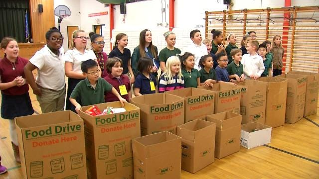 Tulsa Students Donate 1,200-Plus Cans Of Food For Needy
