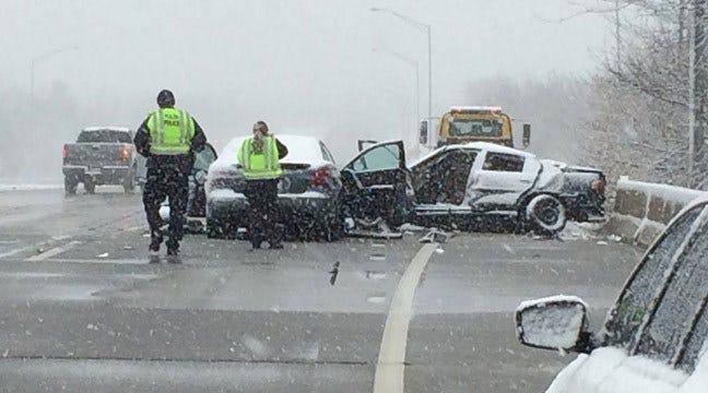 Snow, Speed Lead To Crash On BA Expressway In Tulsa