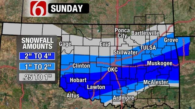 Snowfall In Forecast For Parts Of Oklahoma