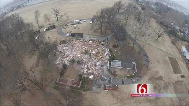 Tulsa's Blair Mansion Razed To Make Way For Park; Drone Camera Captures Demo