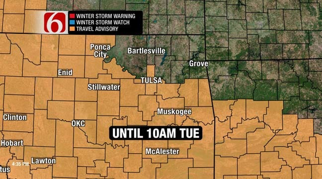 Tulsa, Other Oklahoma Counties Under Winter Weather Advisory