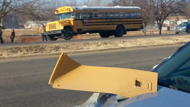 OHP: Student Injured When Car Collides With School Bus West Of Sand Springs
