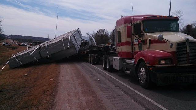 Oversized Load Slides Off Semi Near Port Of Catoosa