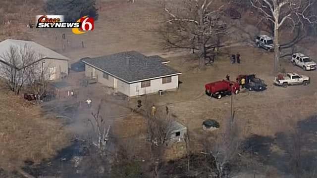 Wild Fires Blacken Countryside, Threaten Home Near Keystone Lake