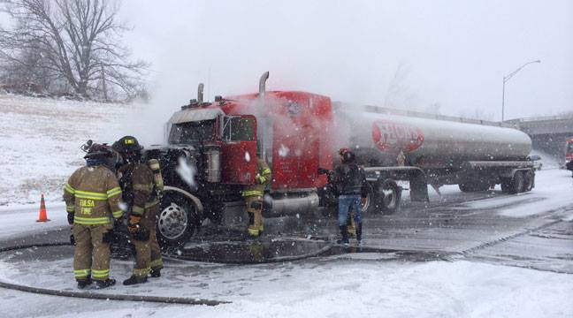 Tanker Truck Cab Catches Fire On Tulsa's I-244
