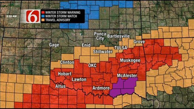 Winter Storm Moves Through Oklahoma