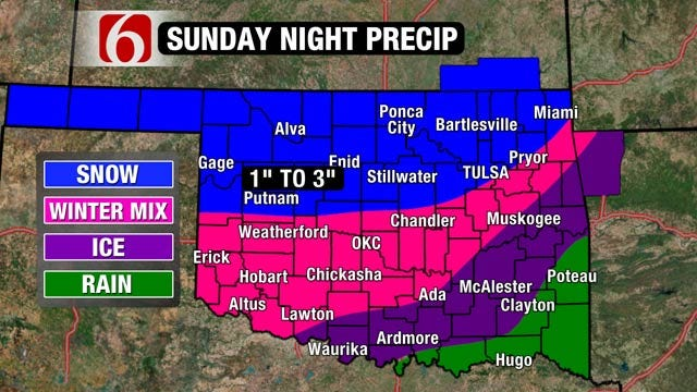 Colder Temps, Freezing Rain, Snow In Sunday's Forecast For Oklahoma