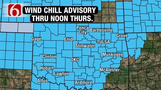 Frigid Air, North Winds Bring Sub-Zero Wind Chills To Eastern Oklahoma
