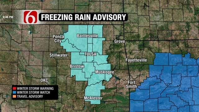Freezing Rain Advisory In Effect For Some Eastern Oklahoma Counties