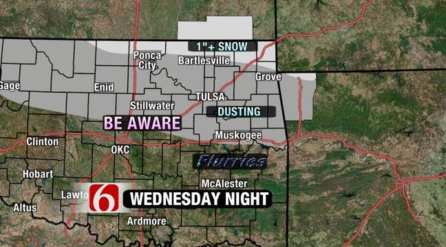 Light Snow, Bitter Cold Arrives In NE Oklahoma, Southern Kansas