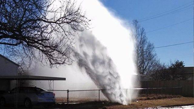 Tulsa Water Line Break Creates Geyser