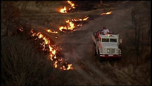 Grass Fires Spread Across Green Country