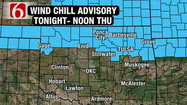 Arctic Cold Front Prompts Wind Chill Advisory For Northern Oklahoma