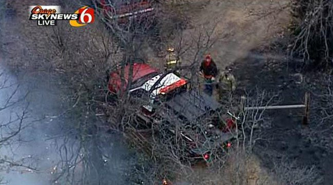 Firefighters Work To Contain Wildfire Outside Mannford