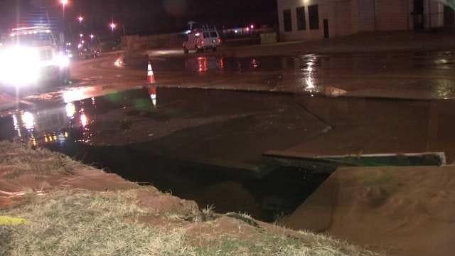 Water Main Break Impacts Traffic On Tulsa's Charles Page Boulevard