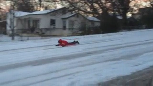 WATCH: Sledding - And Snowboarding - In Green Country