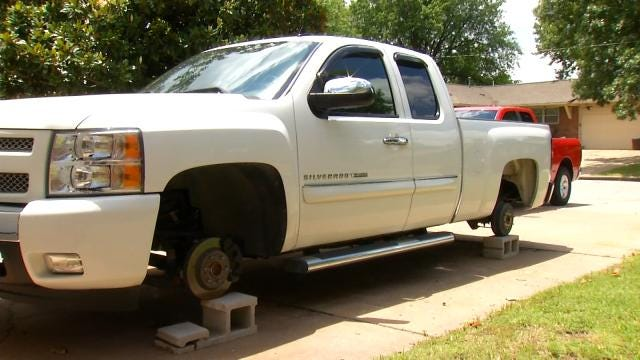 Tulsa Cancer Patient Awakes To Find Wheels Stolen From Truck