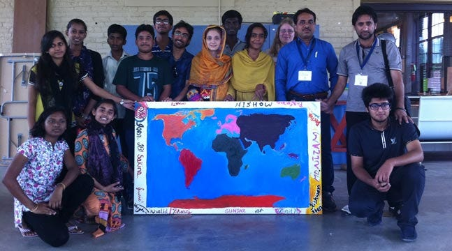 Teens From Across The Globe Paint Map For Tulsa Global Alliance