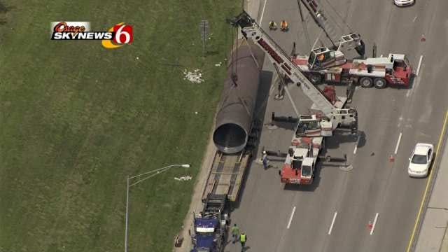 Witness Surprised No One Hurt By Giant Pipe Crashing On Tulsa Highway