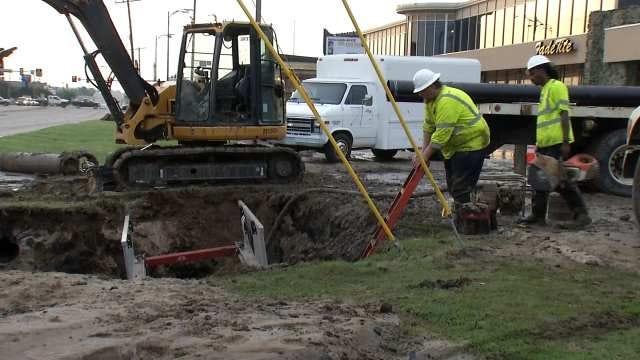 Water Main Breaks Affect 2 Dozen Businesses Near 41st And Memorial