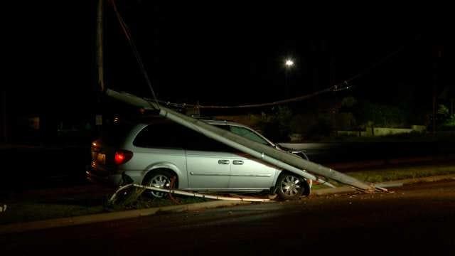 Van Driver Arrested After Hitting Tulsa Utility Pole