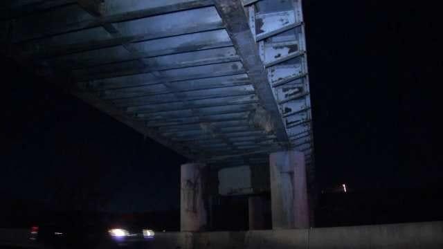 Semi Loaded With Hay Hits Bridge, Rolls Over On Tulsa Highway