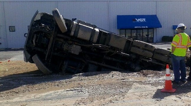 City Of Tulsa Truck 'Swallowed' When Street Collapses