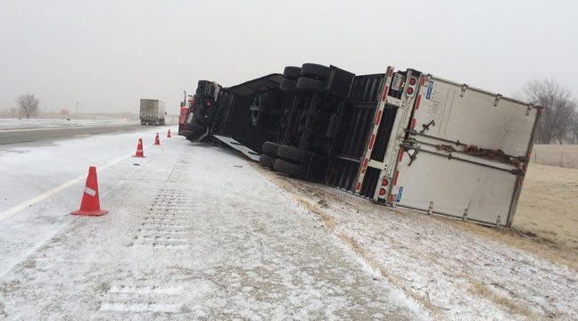 Road Conditions Deteriorating On Interstate 40 Near Checotah