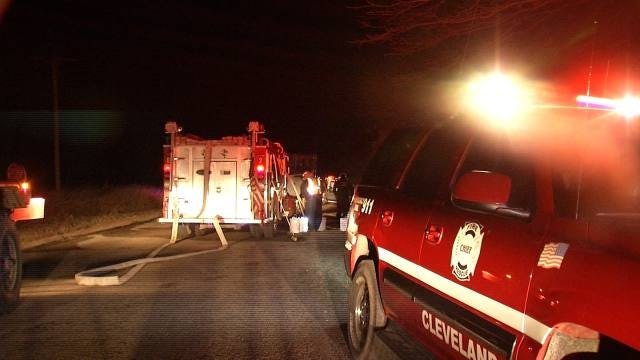 Cleveland Firefighters Respond To Tank Battery Fire