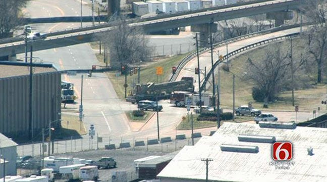 Semi High Centers On Tulsa IDL Entrance Ramp
