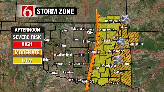 Gusty Winds, Slight Chance For Thunderstorms East Of Tulsa