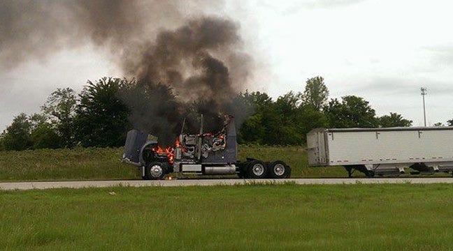 Semi Truck Catches Fire Near Port Of Catoosa