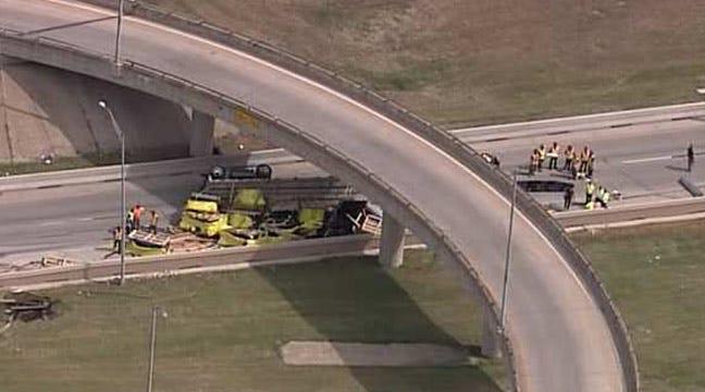 Semi Overturns On Tulsa's IDL At Tisdale Expressway