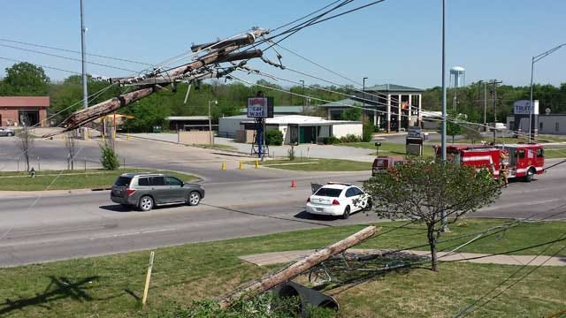 Power Pole Snaps, Creates Domino Effect In Bartlesville