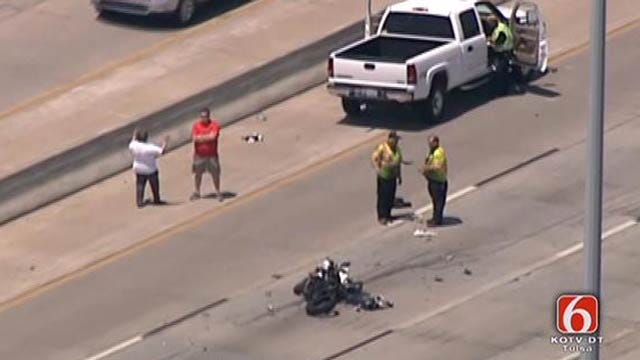 Truck Hits Motorcycle On Tulsa Highway; Police Blame Cell Phone Use