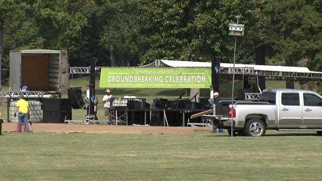Crews Spend Friday Preparing For Gathering Place Groundbreaking