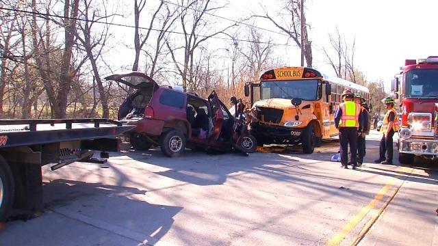 EXCLUSIVE: Tulsa School Bus Cam Shows Head-On Crash